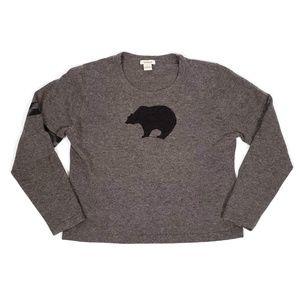 Sundance Sz L Brown Bear Lambswool Sweater